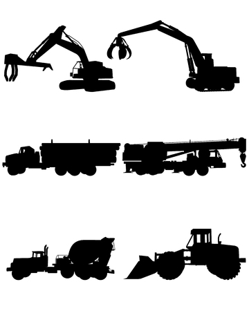 engins de chantier: Vector illustration of a six construction machinery silhouettes