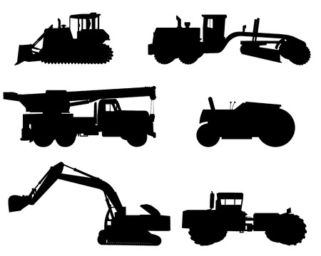 road grader: Vector illustration of a six construction machinery silhouettes