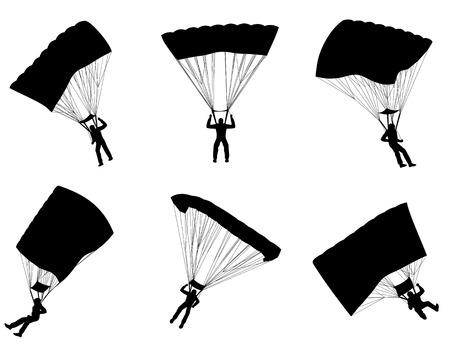 euphoric: Vector illustration of a six parachutists silhouettes Illustration