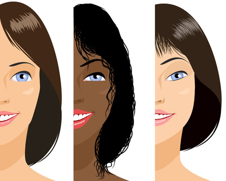 headshot: Vector illustration of a three girls faces