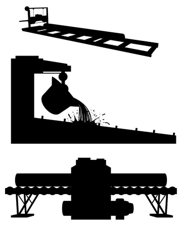 steel mill: Vector illustration of a three productions silhouettes