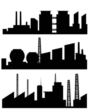 poison symbol: Vector illustration of a three factories silhouettes