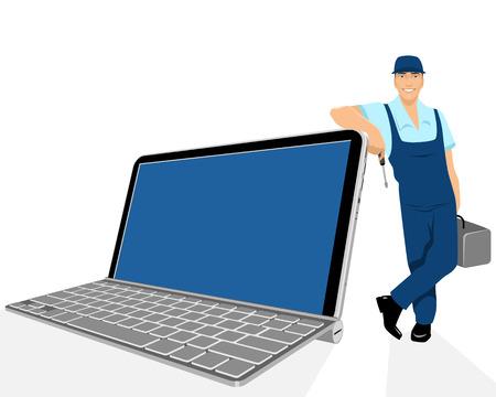 riparatore: Illustrazione vettoriale di un computer portatile e riparatore