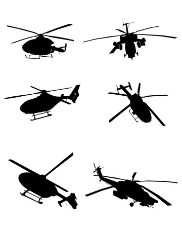 Vector illustration image of a six helicopters set
