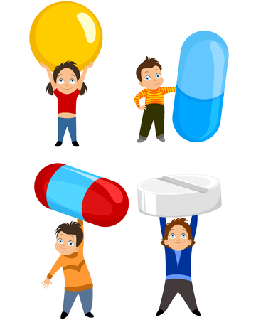 doctor holding pills: Vector illustration of a children with tablets