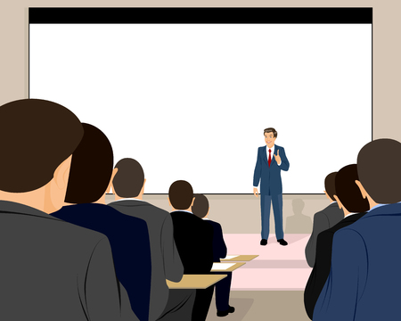 Vector illustration of a lecturer holds a seminar