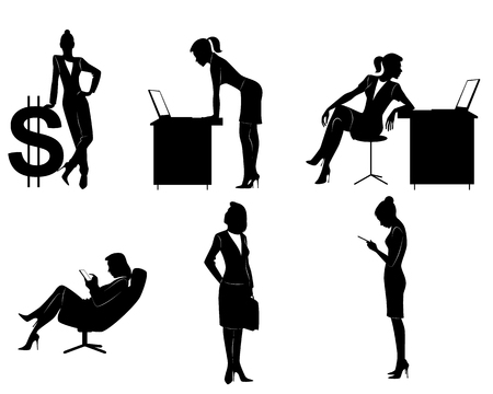 woman tablet: Vector illustration of a six businesswomen silhouettes Illustration