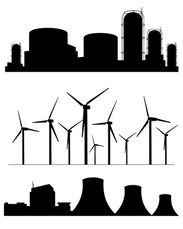 cooling tower: Vector illustration of a three factories silhouettes