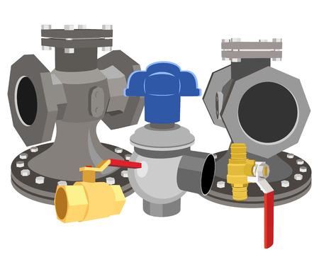 clack: Vector illustration of a set of valves