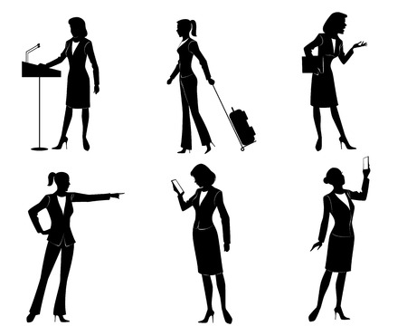 business bags: Vector illustration of a six businesswomen silhouettes Illustration