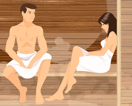 swelter: Vector illustration of a couple in sauna