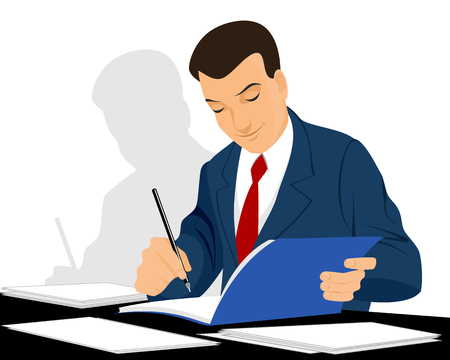 writing paper: Vector illustration of a businessman working with documents Illustration