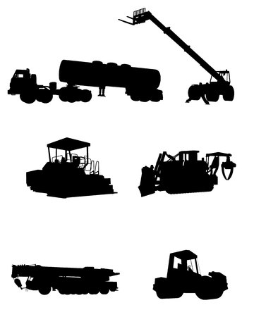 dozer: Vector illustration of a six construction machinery silhouettes