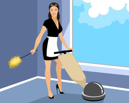 housekeeper: Ilustraci�n vectorial de un ama de casa limpia habitaci�n