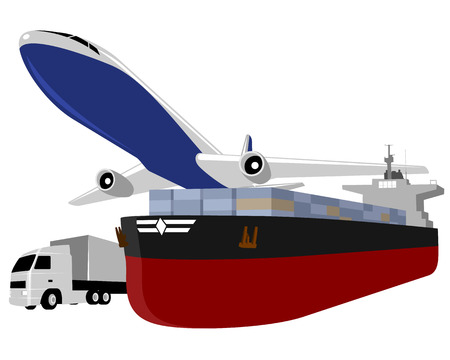 loading truck: Vector illustration of a plane, ship a truck Illustration