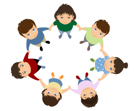Vector illustration of a children holding hands Ilustração