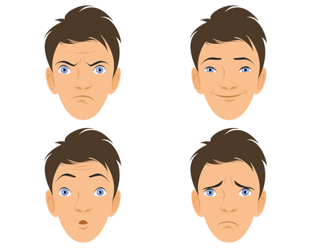 disordered: Vector illustration of a four human faces