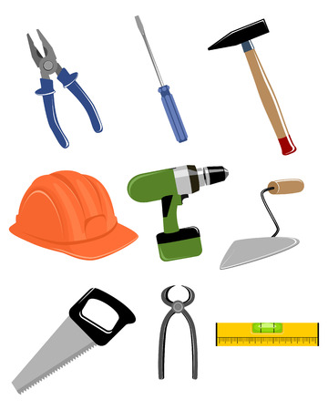 Vector illustratie van een bouw-tools set Stock Illustratie
