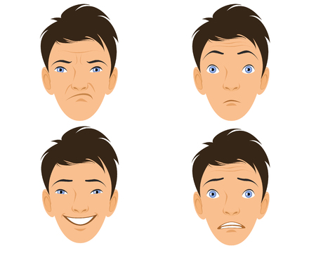 sad cartoon: Vector illustration of a four human faces