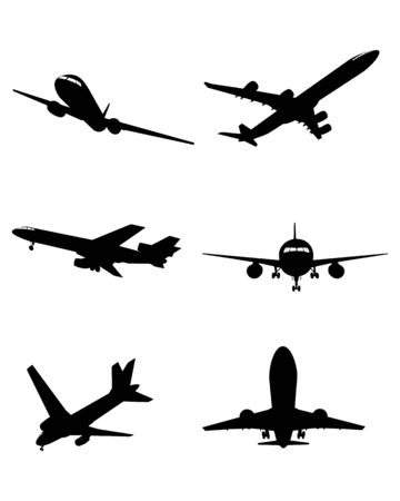 aircraft aeroplane: Vector illustration of a six planes silhouettes