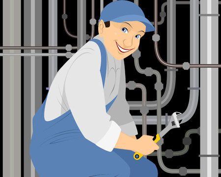 man nuts: Vector illustration of a plumber with a gas key