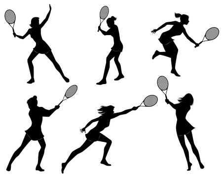 female athletes: Vector illustration of a six tennis players silhouettes