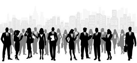 business team: Vector illustration of a business team on city background Illustration