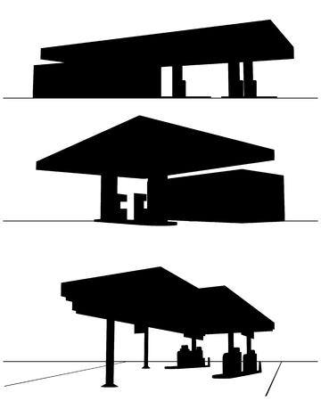 refueling: Vector illustration of a three refueling station Illustration