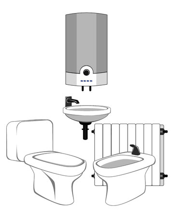 sewerage: Vector illustration of a sanitary equipment set