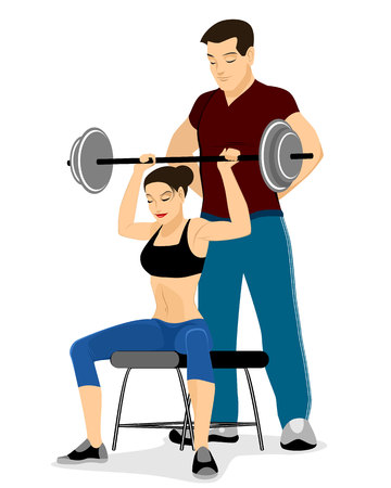 Vector illustration of a girl trains with coach