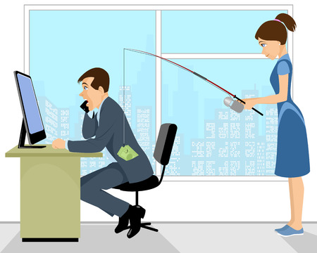 stealing: Vector illustration of a wife stealing money