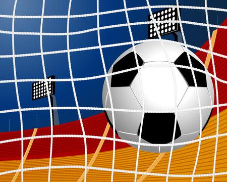 soccer goal: Vector illustration of a soccer ball in goal