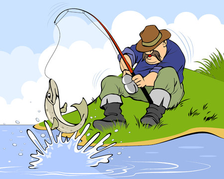 pike: Vector illustration of a fisherman and pike
