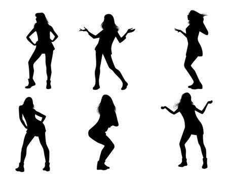 mini skirt: Vector illustration of dancing girls silhouettes