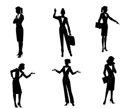 woman walk: Vector illustration of a six businesswomen silhouettes Illustration
