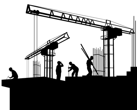 Vector illustration of a builders on a construction site Иллюстрация