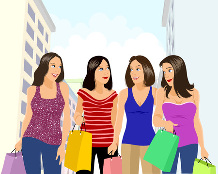 Vector illustration of a four girls shopping Ilustração