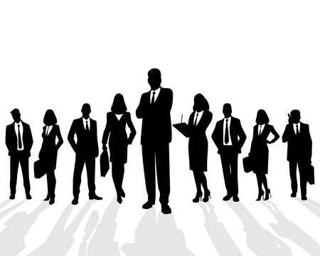 business woman: Vector illustration of a business team on white background Illustration