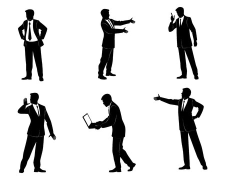 Vector illustration of a six businessman silhouettes
