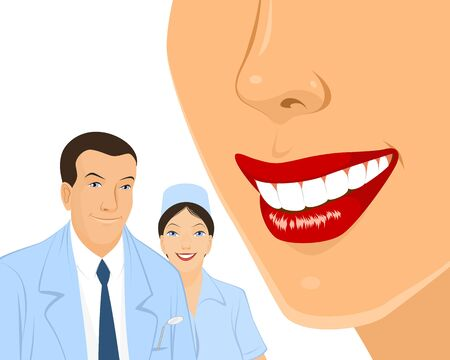 dental assistant: Vector illustration of a dantists and teeth Illustration