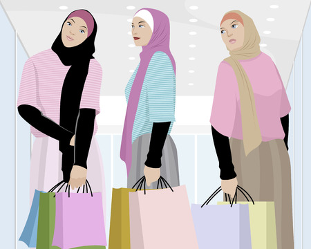 chicas comprando: Vector ilustración de un carrito de niñas musulmanas