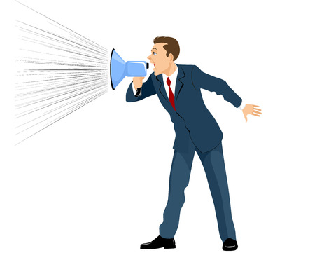 Vector illustration of a businessman shouting through a megaphone Ilustração