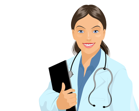 doctor tablet: Vector illustration of a affable doctor with tablet