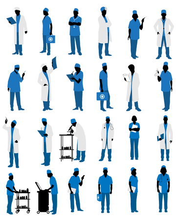Vector illustration of a doctors in uniform silhouettes