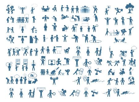 figura humana: Ilustración vectorial de un conjunto cifras empresarios