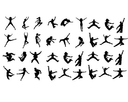 Vector illustratie van een zes springen tieners