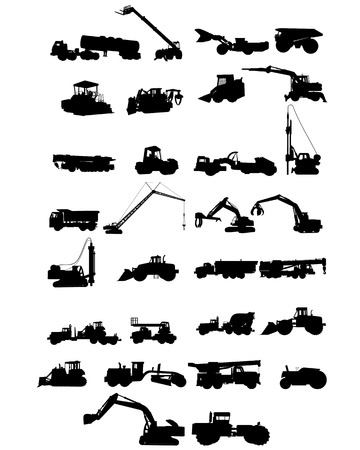 camion grua: Ilustración vectorial de una maquinaria de seis construcción siluetas