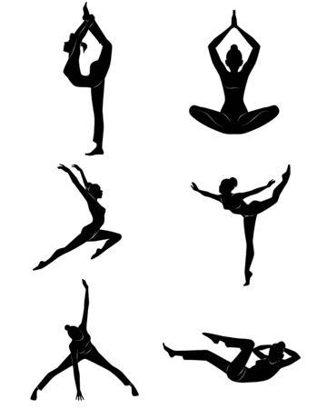 silueta humana: Ilustraci�n vectorial de una chica haciendo ejercicios
