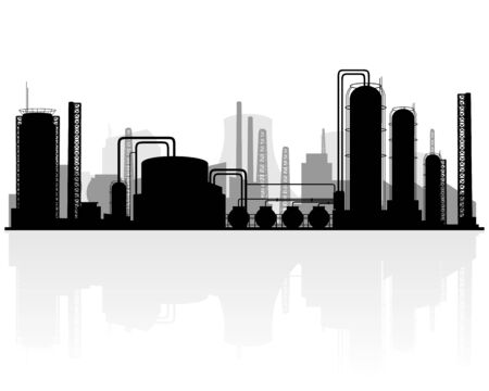 petrochemical plant: Vector illustration of a petrochemical production silhouette Illustration