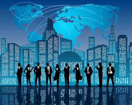 busy city: Vector illustration of a business team on city background Illustration